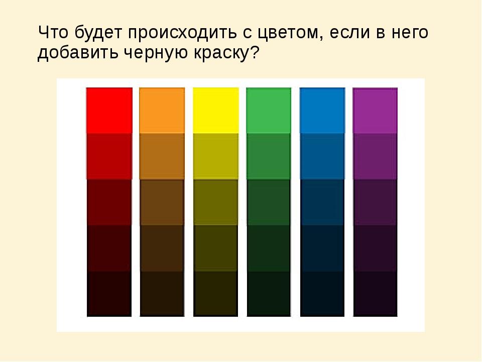 Что будет происходить с цветом, если в него добавить черную краску?