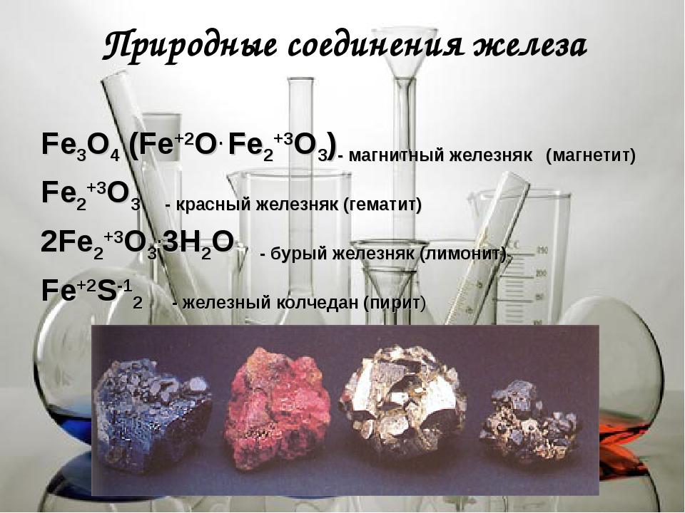 Природные соединения железа Fе3О4 (Fе+2О. Fе2+3О3)- магнитный железняк (магне...