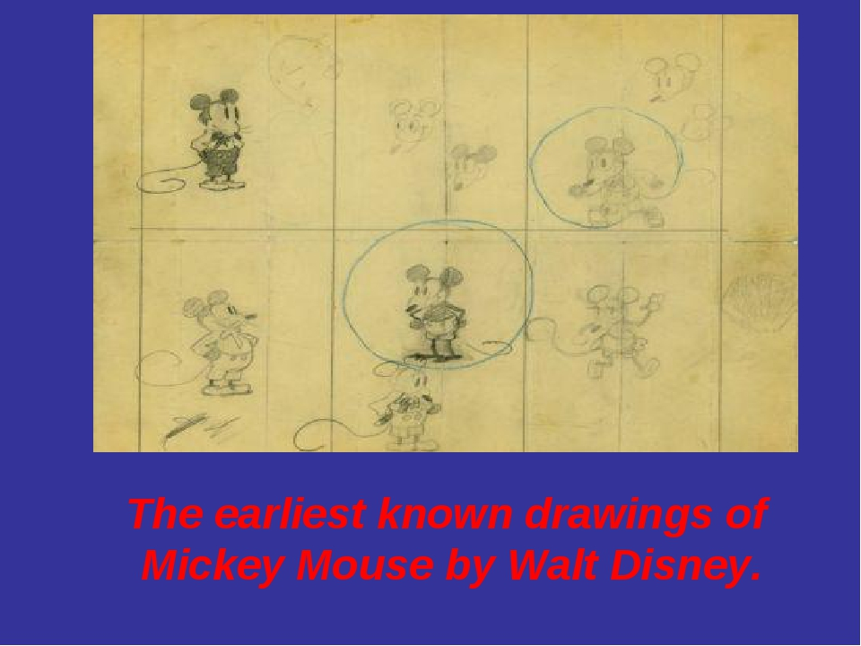 The earliest known drawings of Mickey Mouse by Walt Disney.