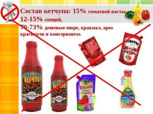 Состав кетчупа: 15% томатной пасты, 12-15% специй, 70-73% дешевые пюре, крахм