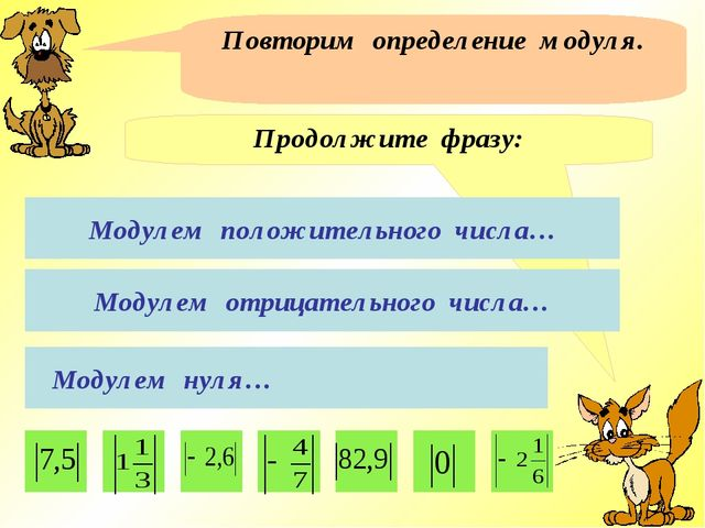 Повторим определение модуля. Продолжите фразу: Модулем положительного числа…...