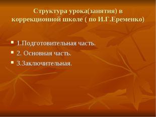 Структура урока(занятия) в коррекционной школе ( по И.Г.Еременко) 1.Подготови