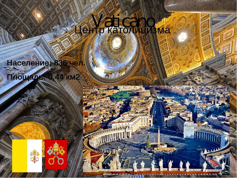 Vaticano Центр католицизма Население: 836 чел. Площадь: 0,44 км2