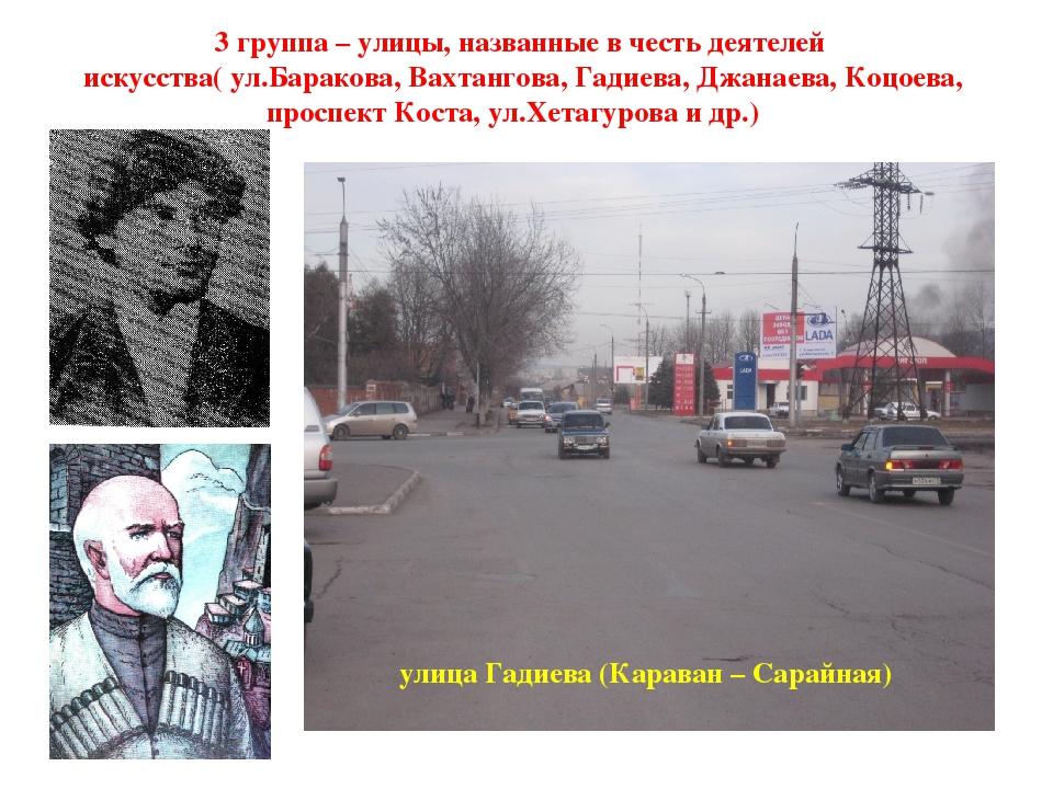 3 группа – улицы, названные в честь деятелей искусства( ул.Баракова, Вахтанг...