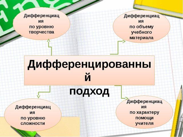 Дифференцированный подход Дифференциация по объему учебного материала Диффере...