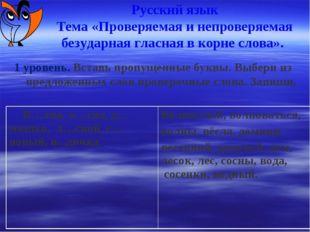 Русский язык Тема «Проверяемая и непроверяемая безударная гласная в корне сл