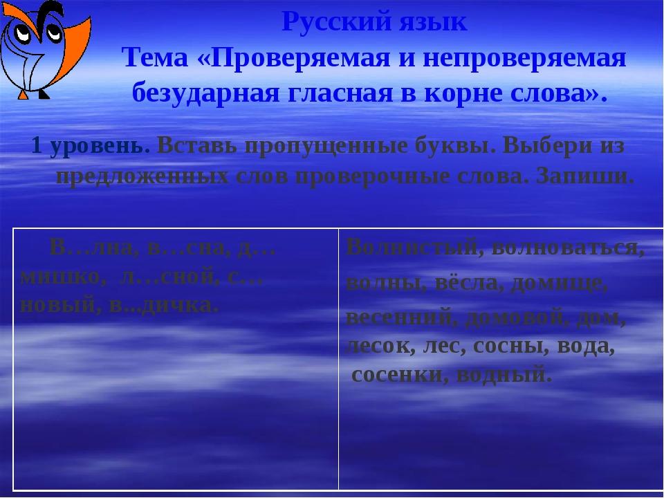 Русский язык Тема «Проверяемая и непроверяемая безударная гласная в корне сл...