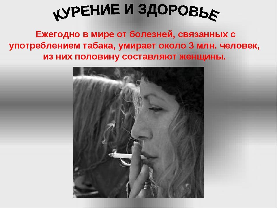 Ежегодно в мире от болезней, связанных с употреблением табака, умирает около...
