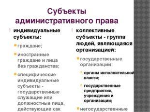 Субъекты административного права индивидуальные субъекты: граждане; иностранн