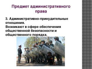 Предмет административного права 3. Административно-принудительные отношения.