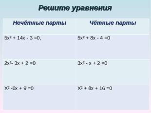 Решите уравнения Нечётные партыЧётные парты 5х² + 14х - 3 =0,5х² + 8х - 4 =