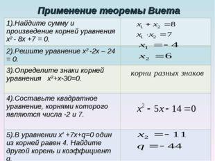 Применение теоремы Виета 1).Найдите сумму и произведение корней уравнения х2