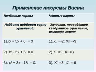 Применение теоремы Виета Нечётные парты Чётные парты Найдите подбором корни
