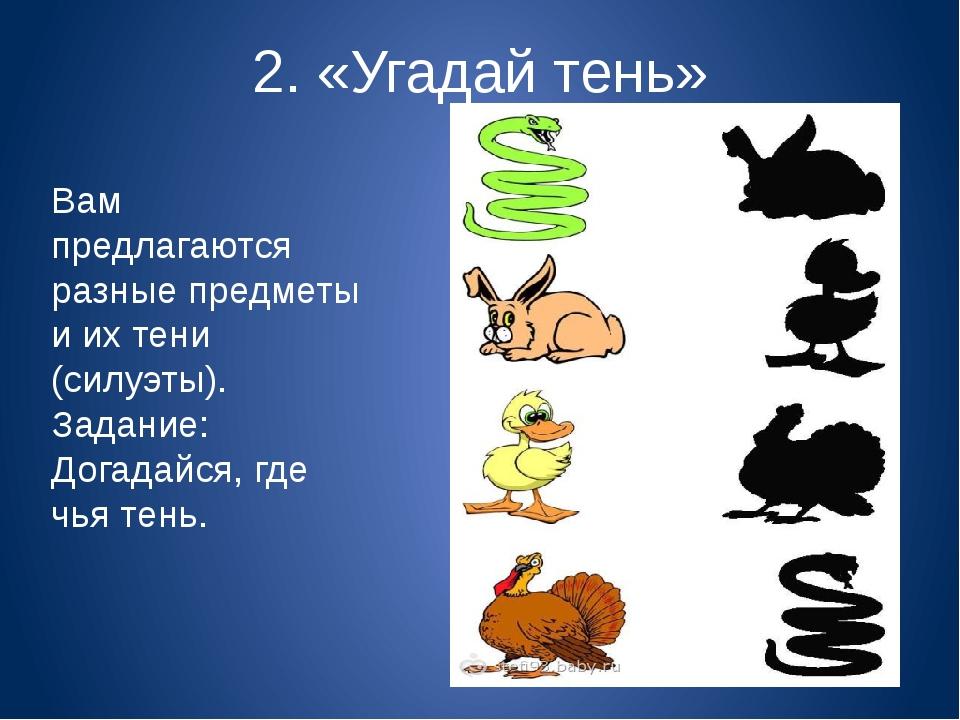 2. «Угадай тень» Вам предлагаются разные предметы и их тени (силуэты). Задани...