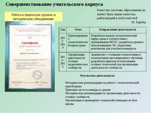Совершенствование учительского корпуса Качество системы образования не может
