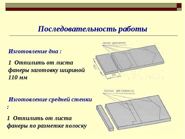 Последовательность работы Изготовление дна : 1 Отпилить от листа фанеры загот...
