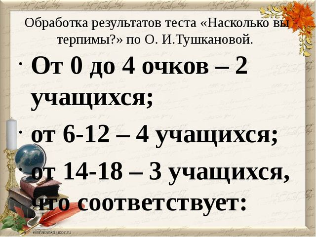 Обработка результатов теста «Насколько вы терпимы?» по О. И.Тушкановой. От 0...