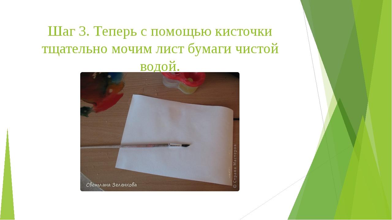 Шаг 3. Теперь с помощью кисточки тщательно мочим лист бумаги чистой водой.