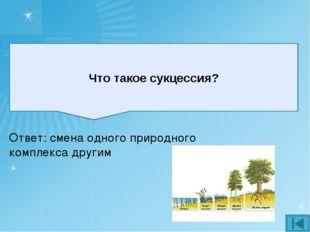 Что такое сукцессия? Ответ: смена одного природного комплекса другим