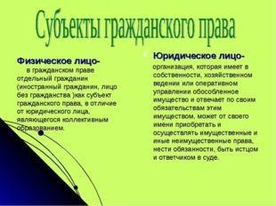 Юридическое лицо- организация, которая имеет в собственности, хозяйственном в