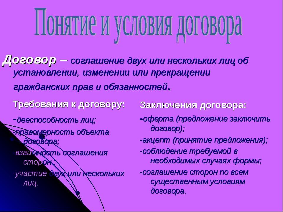 Требования к договору: -дееспособность лиц; -правомерность объекта договора;...