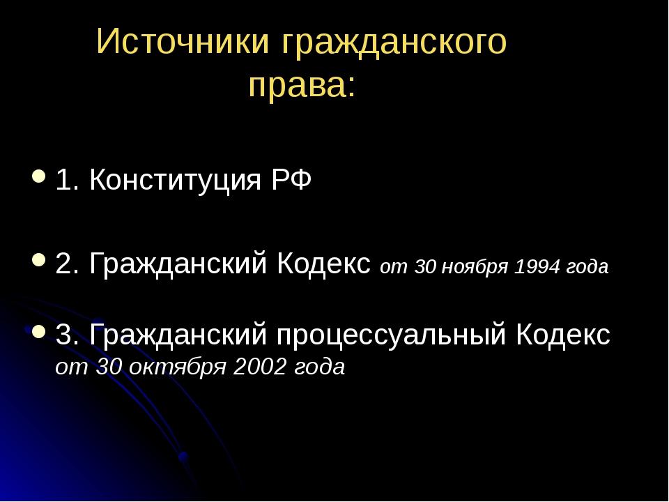 Источники гражданского права: 1. Конституция РФ 2. Гражданский Кодекс от 30 н...