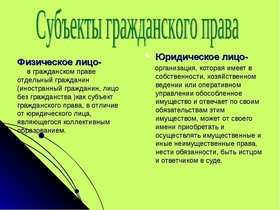 Юридическое лицо- организация, которая имеет в собственности, хозяйственном в...