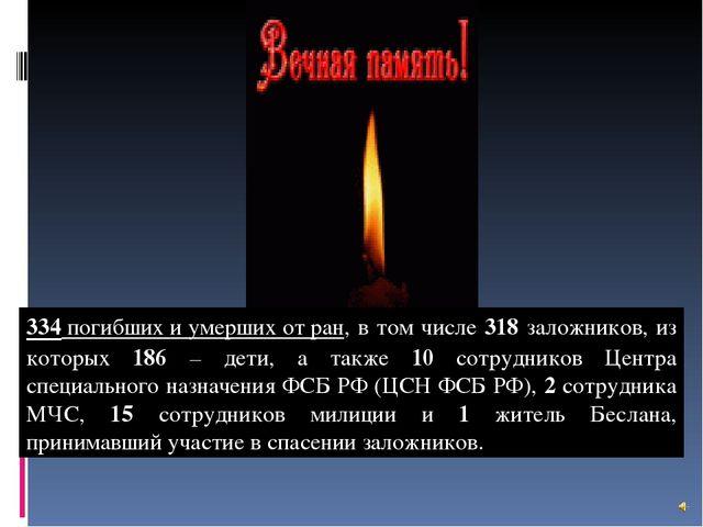 334 погибших и умерших от ран, в том числе 318 заложников, из которых 186 – д...