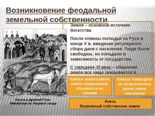 Возникновение феодальной земельной собственности Земля – основной источник бо