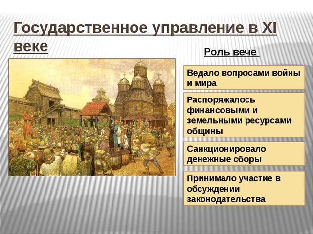 Государственное управление в XI веке Ведало вопросами войны и мира Распоряжал...