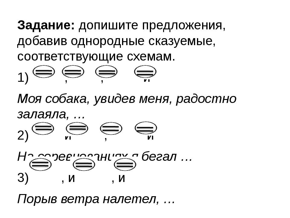 Задание: допишите предложения, добавив однородные сказуемые, соответствующие...