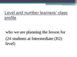 Level and number learners/ class profile who we are planning the lesson for (