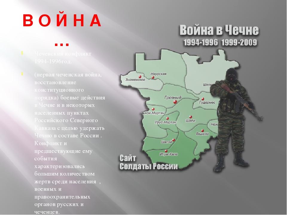 В О Й Н А … Чеченский конфликт 1994-1996год. (первая чеченская война, восстан...