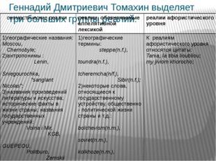 Геннадий Дмитриевич Томахин выделяет три больших группы реалий: ономастически