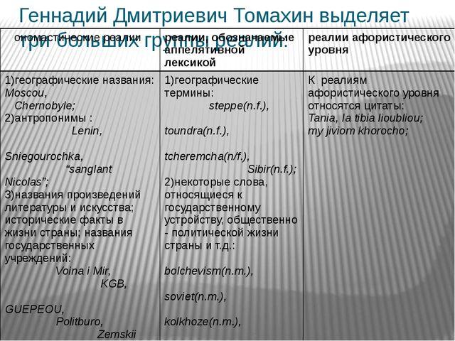 Геннадий Дмитриевич Томахин выделяет три больших группы реалий: ономастически...