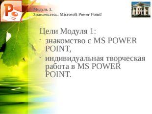 Модуль 1. Знакомьтесь, Microsoft Power Point! Цели Модуля 1: знакомство с MS