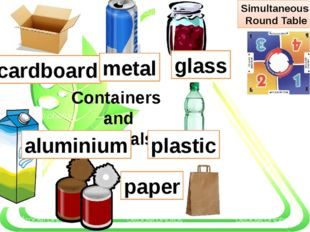 Containers and materials plastic glass paper cardboard metal aluminium Simul