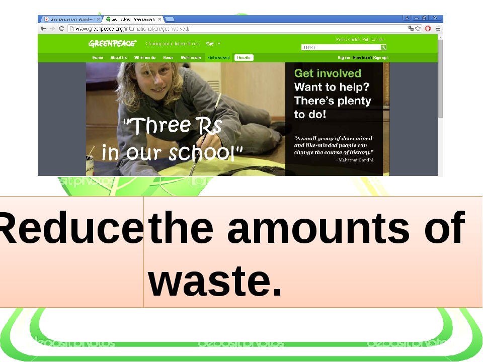 Reduce … the amounts of waste.