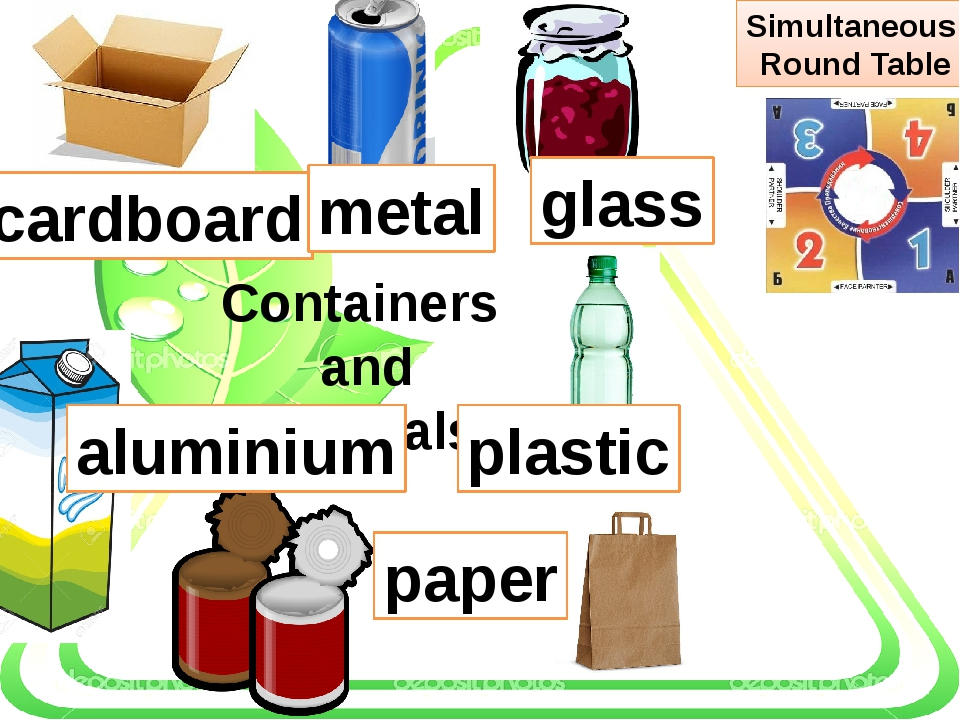 Containers and materials plastic glass paper cardboard metal aluminium Simul...