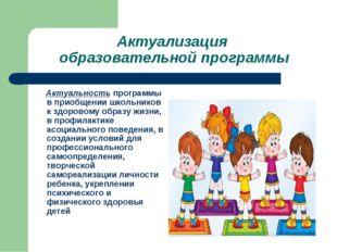 Актуализация образовательной программы Актуальность программы в приобщении шк