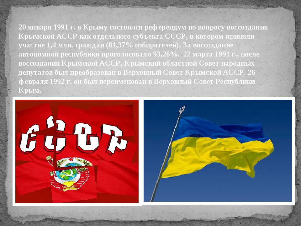 20 января 1991 г. в Крыму состоялся референдум по вопросу воссоздания Крымско...