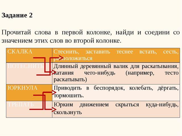 Задание 2  Прочитай слова в первой колонке, найди и соедини со значением эти...