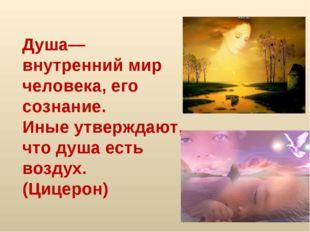 Душа— внутренний мир человека, его сознание. Иные утверждают, что душа есть в