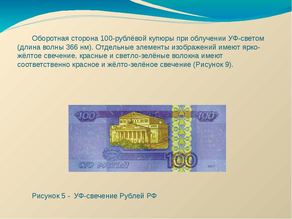 Оборотная сторона 100-рублёвой купюры при облучении УФ-светом (длина волны 3...