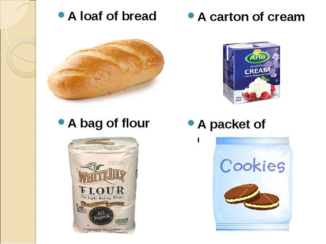 A loaf of bread A bag of flour A carton of cream А packet of cookies