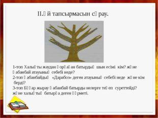 II.Үй тапсырмасын сұрау. 1-топ Халықты жаудан қорғаған батырдың шын есімі кі