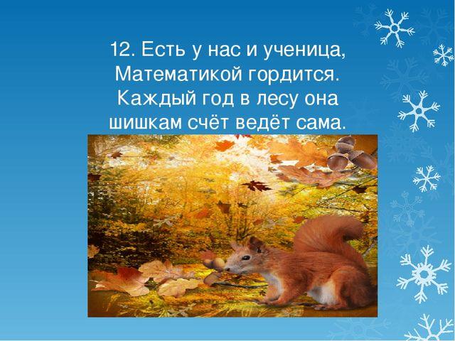 12. Есть у нас и ученица, Математикой гордится. Каждый год в лесу она шишкам...