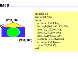 Пример (200, 50) (100, 100) (300, 100) program qq; uses GraphABC; begin setB