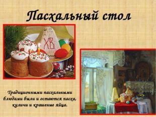 Пасхальный стол Традиционными пасхальными блюдами были и остаются пасха, кули