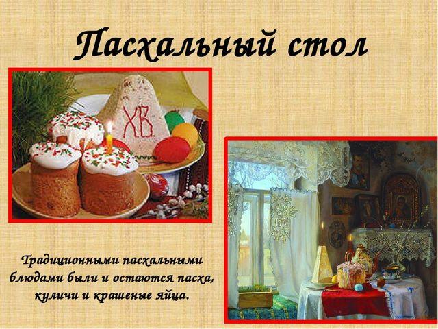 Пасхальный стол Традиционными пасхальными блюдами были и остаются пасха, кули...